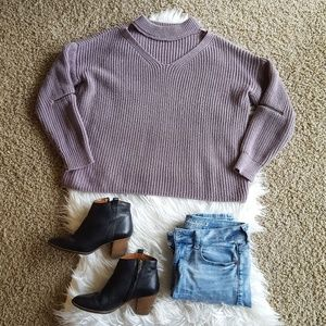Sweaters - Purple Choker Sweater